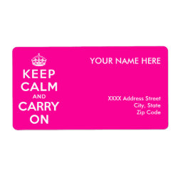 Shipping Label with Keep Calm and Carry On (Magenta) design