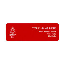 Return Label with Keep Calm and Carry On (Red) design