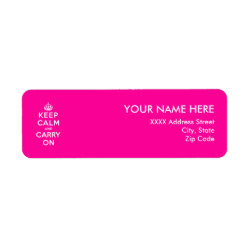 Return Label with Keep Calm and Carry On (Magenta) design