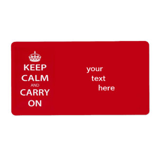Keep Calm and Carry On Shipping Label