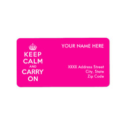 Address Label with Keep Calm and Carry On (Magenta) design
