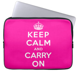 Neoprene Laptop Sleeve 13 inch with Keep Calm and Carry On (Magenta) design