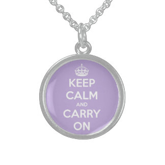 Keep Calm and Carry On Lavender Round Pendant Necklace