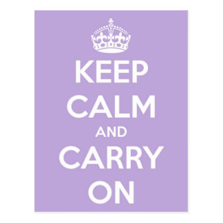Keep Calm and Carry On Lavender Postcard