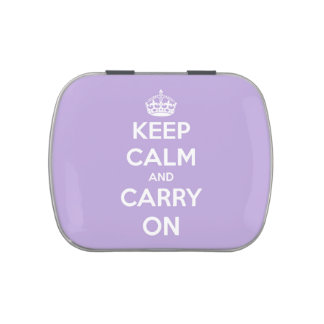 Keep Calm and Carry On Lavender Refillable Tin Jelly Belly Candy Tin