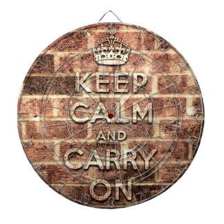 keep calm and carry on London brick Dartboard