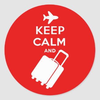 Keep Calm and Carry on Luggage Classic Round Sticker