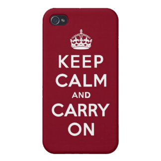 Keep Calm and Carry On Madder Lake Cover For iPhone 4