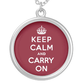 Keep Calm and Carry On Madder Lake Round Pendant Necklace