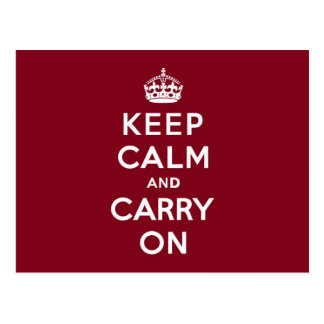 Keep Calm and Carry On Madder Lake Postcard
