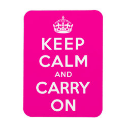 3'x4' Photo Magnet with Keep Calm and Carry On (Magenta) design