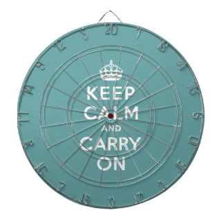 Keep Calm and Carry On Masculine Teal Dart Boards
