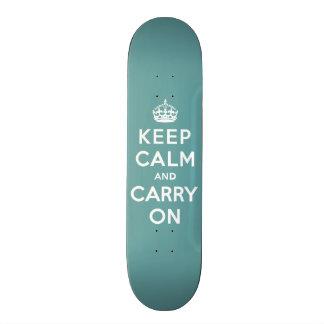 Keep Calm and Carry On Masculine Teal Skateboard Decks