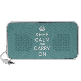 Keep Calm and Carry On Masculine Teal iPod Speaker