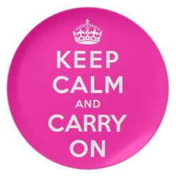 Plate with Keep Calm and Carry On (Magenta) design