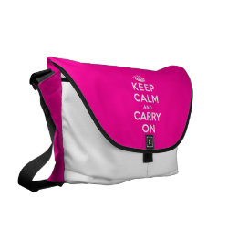 ickshaw Large Zero Messenger Bag with Keep Calm and Carry On (Magenta) design