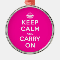 Premium circle Ornament with Keep Calm and Carry On (Magenta) design