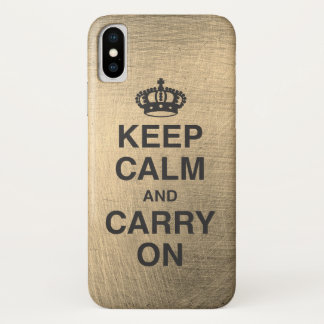 KEEP CALM AND CARRY ON / Metallic iPhone X Case