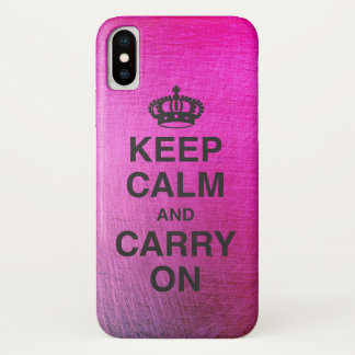 KEEP CALM AND CARRY ON / Metallic vibrant iPhone X Case