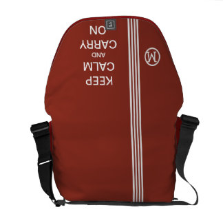 KEEP CALM AND CARRY ON Monogram Racing Stripe Courier Bag