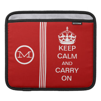 KEEP CALM AND CARRY ON Monogram Racing Stripe Sleeves For iPads