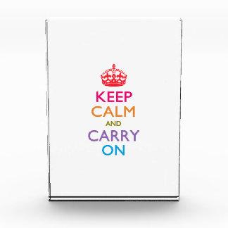 KEEP CALM AND CARRY ON Multicolored Acrylic Award