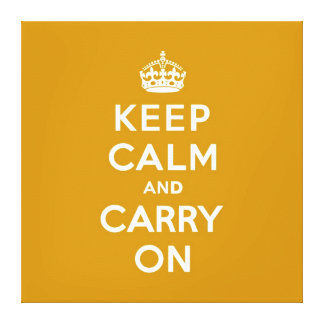 Keep Calm and Carry On Naples Yellow Canvas Print