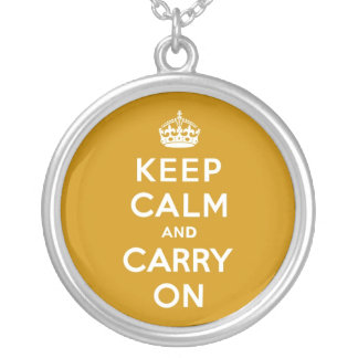 Keep Calm and Carry On Naples Yellow Round Pendant Necklace