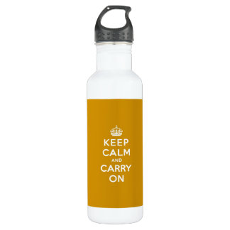 Keep Calm and Carry On Naples Yellow Stainless Steel Water Bottle