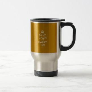 Keep Calm and Carry On Naples Yellow Travel Mug