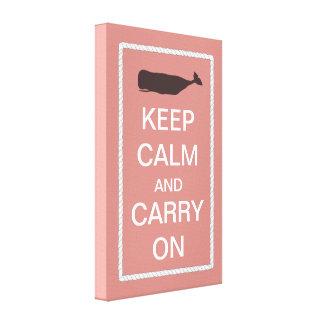 Keep Calm and Carry On Nautical Whale Theme Canvas Print