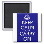 Keep Calm And Carry On: Navy Blue 2 Inch Square Magnet