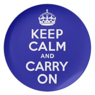 Keep Calm And Carry On Navy Blue and White Plate