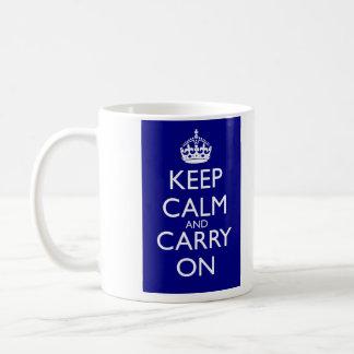 Keep Calm And Carry On: Navy Blue Coffee Mug