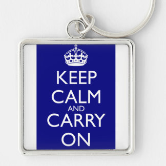 Keep Calm And Carry On: Navy Blue Silver-Colored Square Keychain