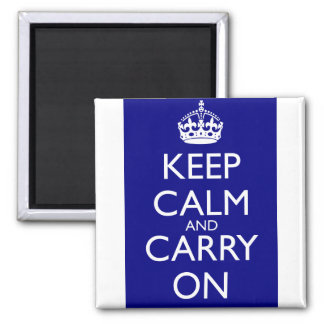 Keep Calm And Carry On: Navy Blue Magnet