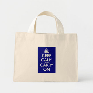 Keep Calm And Carry On: Navy Blue Mini Tote Bag