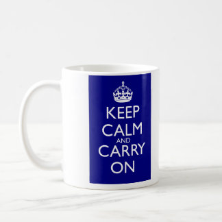 Keep Calm And Carry On: Navy Blue Classic White Coffee Mug