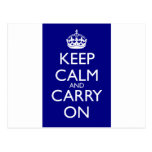 Keep Calm And Carry On: Navy Blue Postcards