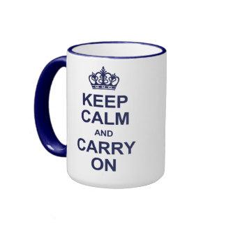 Keep calm and carry on - navy blue ringer mug