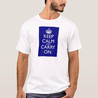 Keep Calm and Carry On Navy Blue T-Shirt