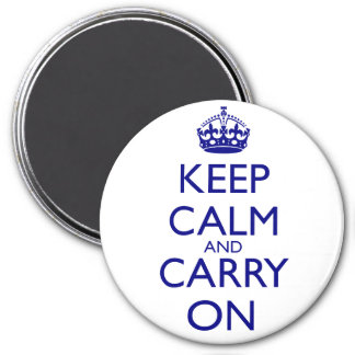 Keep Calm and Carry On Navy Blue Text 3 Inch Round Magnet