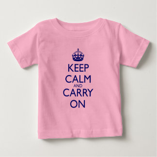 Keep Calm and Carry On Navy Blue Text Baby T-Shirt