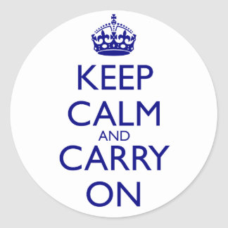 Keep Calm and Carry On Navy Blue Text Classic Round Sticker