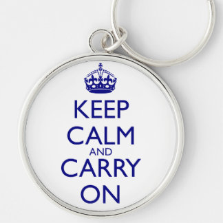 Keep Calm and Carry On Navy Blue Text Keychain