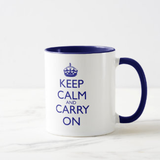 Keep Calm and Carry On Navy Blue Text Mug