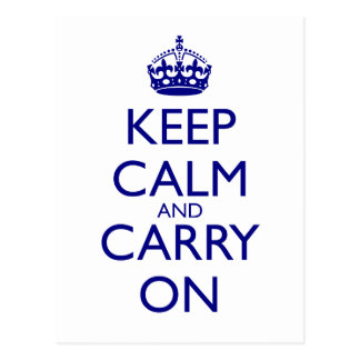 Keep Calm and Carry On Navy Blue Text Postcard