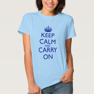 Keep Calm and Carry On Navy Blue Text T-Shirt