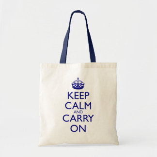 Keep Calm and Carry On Navy Blue Text Tote Bag