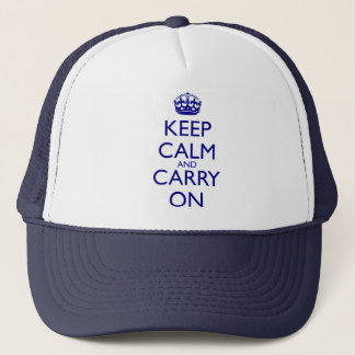 Keep Calm and Carry On Navy Blue Text Trucker Hat
